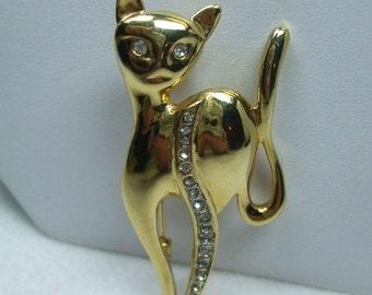 ON SALE 20% OFF Vintage rhinestone cat brooch Goldtone