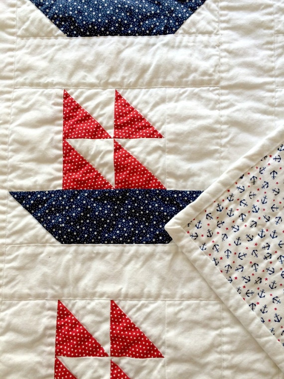 Baby Gift Quilt : Baby boy quilt new gift sailboat by
