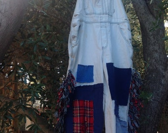showdiva designs Upcycled Overalls Distressed and Fringed with Plaid
