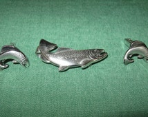 Vintage Silver Tone Tie Clip Cufflinks with Fish by Anson Cuff Links