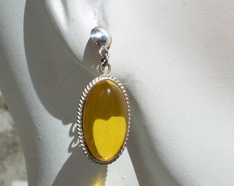 Genuine Amber Earrings Sterling Silver Large Oval Cabs Dangle Pierced Vintage