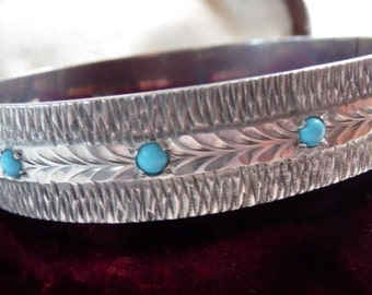 English sterling cuff bangle | turquoise beads | solid 925 | engraved chased cuff