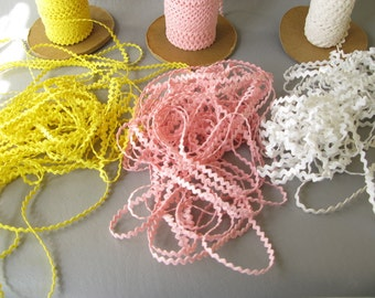 Mini Rick Rack, 10 yards, Pink, Yellow, or White, narrow, tiny