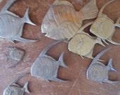 School of Seven Vintage Brass Angel Fish Wall Art