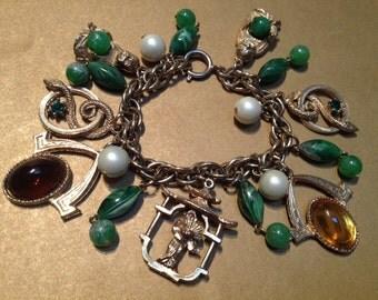 Asian Pagoda Buddha Geisha Snake Charm Bracelet – 1950s Jewelry