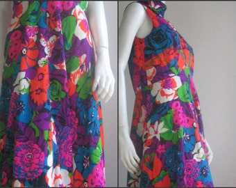 70s vintage long flower dress