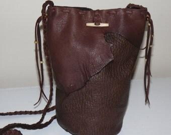 Leather round bottom bag purse