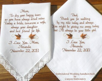 Fall Wedding Theme Wedding Day Wedding Favor Wedding Thank You Fall Wedding Handkerchief Wedding Embroidered By Canyon Embroidery on Etsy