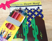 Relax in Color Desert Motifs Coloring Book SET  Adults Coloring Book and Colored Pencils