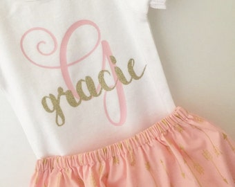 Baby Name Outfit; Baby Girl Monogrammed Outfit; Monogrammed Onesie with Skirt