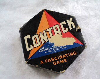 Antique Contack Game 1930s by Parker Brothers. Game Like Dominoes.