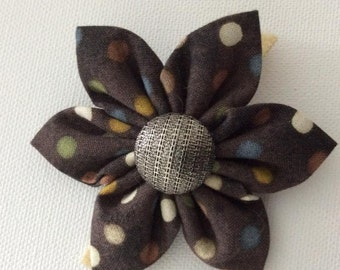 Brown Polka Dot Dog Collar Flower- Ready to Ship