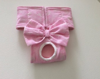 Female Dog Diaper - Panty - Britches - Nappy -Pastel Pink with White Butterflies - Available in all Sizes