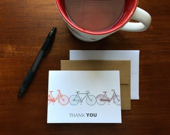 Bike Thank You Notes - Vintage Bicycles, Bike Thank You Cards, Red Grey Brown Bike Bicycle Note Card Set, Bike Stationery