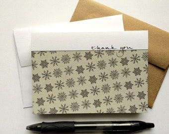 Snowflake Thank You Notes - Winter Snowflakes, Seasonal Note Card Set, Sage Grey Holiday Stationery, Wintry Snow Rustic Thank You Notes