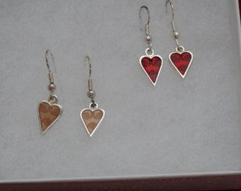 Red and Gold dangle heart Valentine's Day earrings, Two pairs