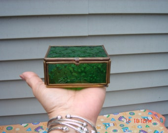 Vintage Green Stained Embossed Glass and Brass Lidded Box - Sweet