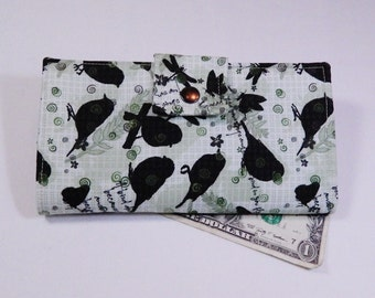 Wallet, Woman's Wallet, Handmade Wallet, Clutch Wallet, Birds, Green Wallet