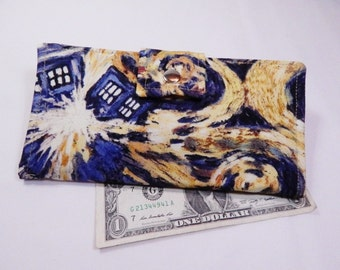 Doctor Who Wallet,  Exploding TARDIS Wallet,  Handmade Wallet, Vegan Wallet, Fabric Wallet, Made in USA