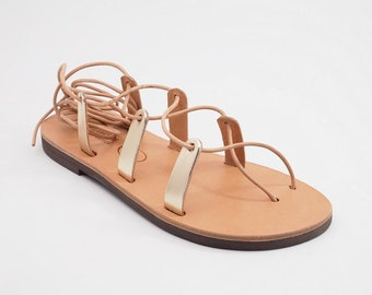 Greek Leather Lace up  Sandals