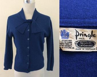 Vintage 1950s Pringle of Scotland cobalt blue lambswool cardigan / blue fifties wool tie-neck cardi - small