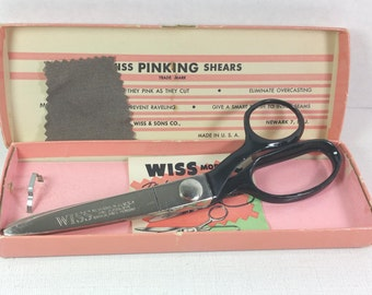 WISS PINKING SHEARS, 1960's, Original Pink Box & Instructions, Model C, Vintage Sewing Tool, Supply