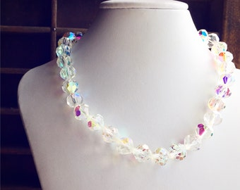 Vintage Super Sparkly Choker Necklace / Collar Glass Beaded Aurora Borealis Retro Style / Perfect Wedding Bridal Jewelry Bride