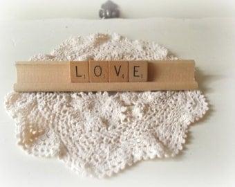 Love Scrabble Word Block Letters Rustic Wedding Sign LOVE  Wedding Letters and Wooden Rack Love Photo Prop Cake Topper Boho Wedding