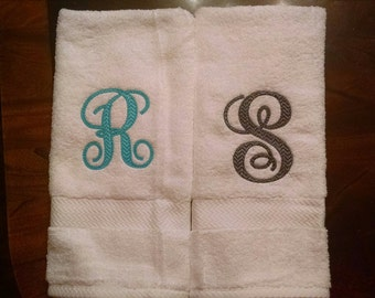 Monogrammed Hand Towel Chevron Font