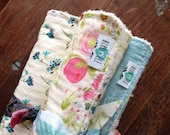 Aqua Floral Baby Burp Cloths, Chenille Backed, Houses, Victorian, Pink Cream Off-White, Baby Shower Gift, Pretty Baby Bibs, Bird and Ele
