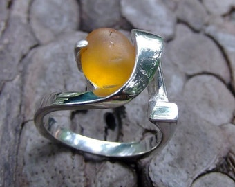 Yellow Sea Glass Ring- Argentium Silver-Kauai Sea Glass-Beach Glass-square shank-NOT made in China