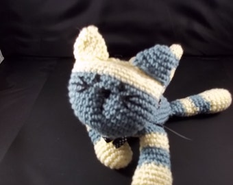 Crocheted  Cat - Blue and Cream