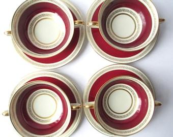 Vintage Cream Soup Bowls and Saucers Coronado H & C Bohemia Czechoslovakia Maroon Gold Set of Four