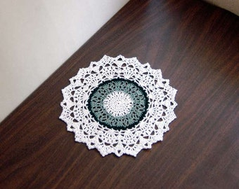 French Country Decor Lace Crochet Doily, Green, White, Elegant Table Accessory, New, Dining Table Decor