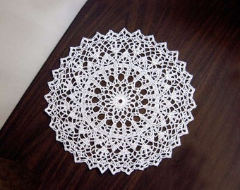 Winter White Lace Crochet Doily, Home Decor, Modern Table Decoration, Festive Holiday Accessory