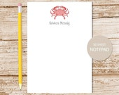 personalized crab notepad . red crab notepad . crab note pad . personalized stationery . nautical stationary
