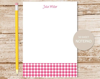 gingham personalized notepad . gingham note pad . personalized stationery . custom stationary