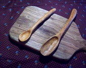 two handmade wooden spoons, saute spoons, hand carved kitchen utensils from apricot wood, handmade wood spoons for cooking and serving