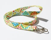 Ready to Ship Skinny Lanyard - Optional Safety Breakaway - Orange, Turquoise & Green Print