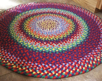 New Ready To Ship Colorful Hand Braided Round Recycled Rainbow Rug / Rag Rug / Carpet for Nursery / Baby's Room / Playroom / Kid's room
