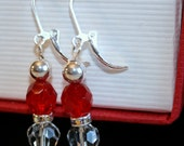 Red and Silver Bauble Earrings
