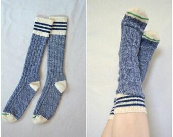 handmade vintage blue and cream woolen mill socks/ winter thermal ski stripe socks
