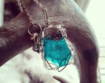 Aqua wire-wrapped resin pendant