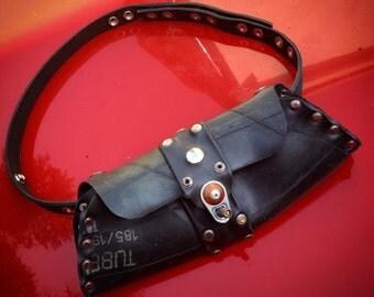 Rubber Inner Tube Bag, Bum Bag, Shoulder Bag, Clutch Bag and Belt, 3 Bags in 1, Recycled, Vegan Leather, Handmade, OOAK Fashion Accessory