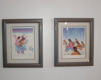 "Cecil Youngfox (1942-1987) pencil Signed pair of Framed Art Prints ~ ""Returning"" and ""Snow Signers"" signed Art Prints ~ Excellent Condition"