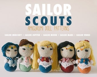 Sailor Scouts Amigurumi Doll Pattern Combo Pack // Manga Crochet Pattern // Instant Download