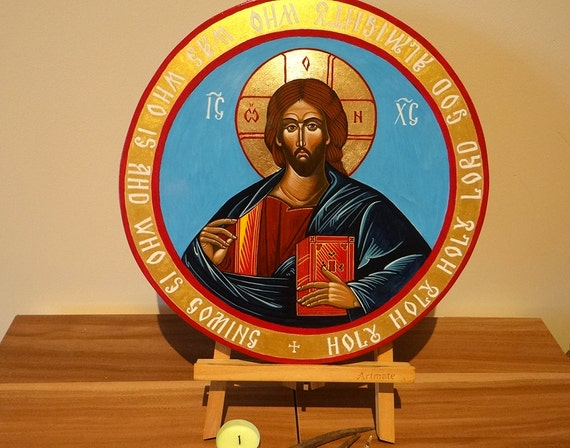 Christ Pantocrator Icon, Small handpainted orthodox icon, Round Painting 8, 12 or 20 inches diameter