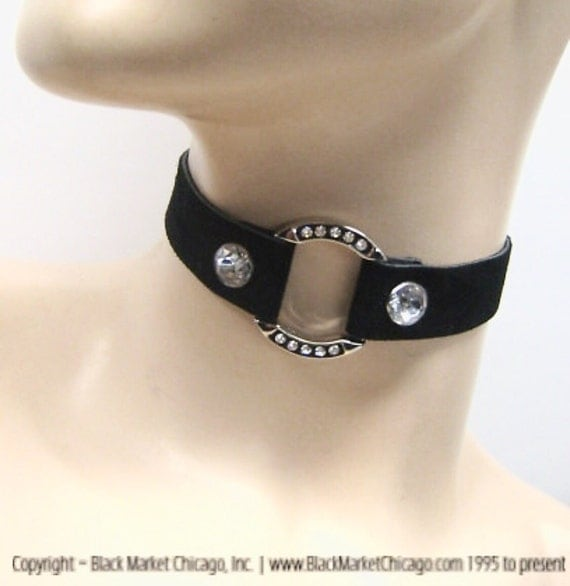 BDSM Day Collar for Discreet Submissive Slave Consideration SUEDE Choker Rhinestone and Crystals LOCKABLE