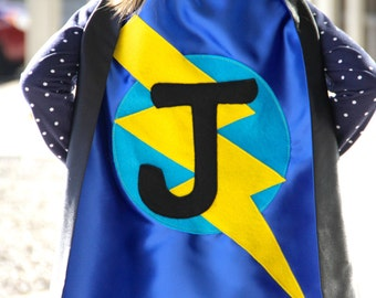 Free mask sale - Fast shipping - Our best selling Kids SUPERHERO Cape Personalized double sided cape - Any Initial - Boy Birthday Gift