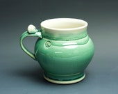 Extra large pottery beer mug, ceramic mug, stoneware stein jade green 22 oz 3413